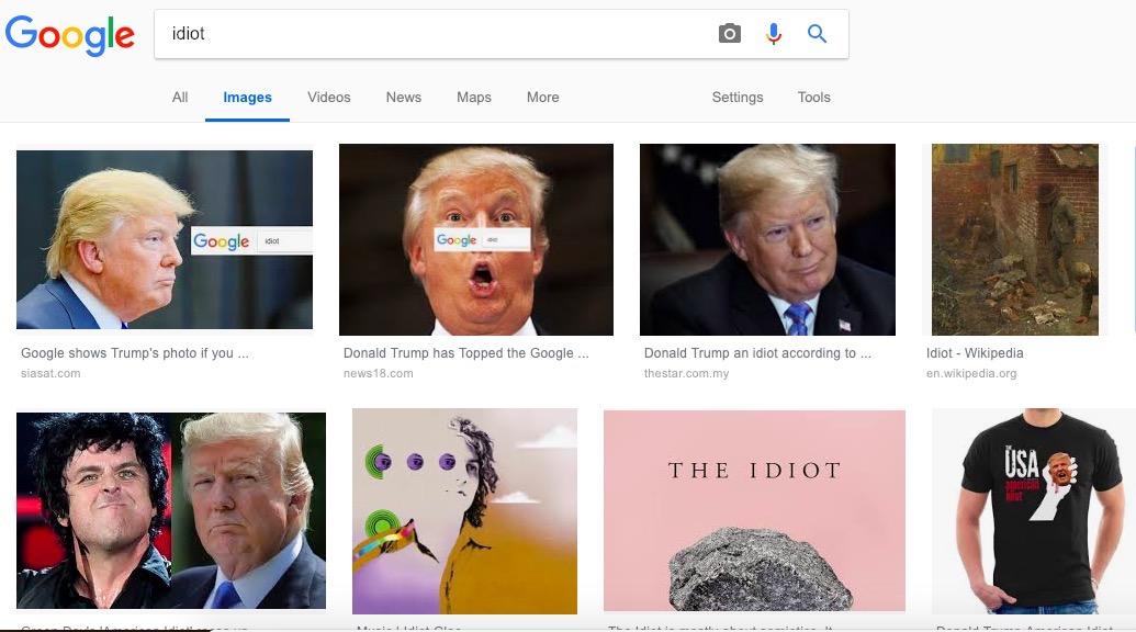 Дональд Трамп— Пичаи пояснил , почему фото президента США выдается позапросу «идиот»
