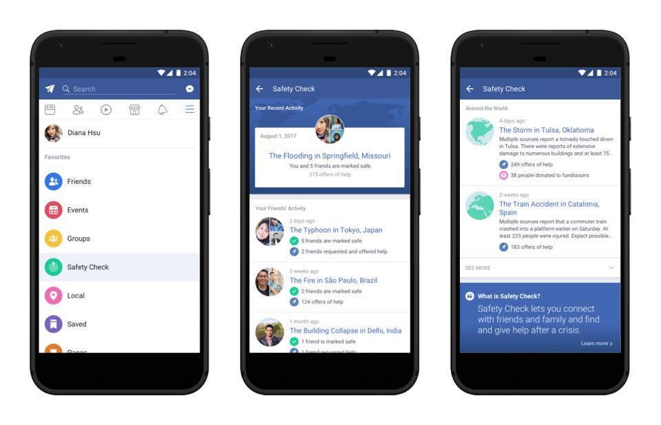Социальная сеть Facebook представил новейшую функцию Safety Check