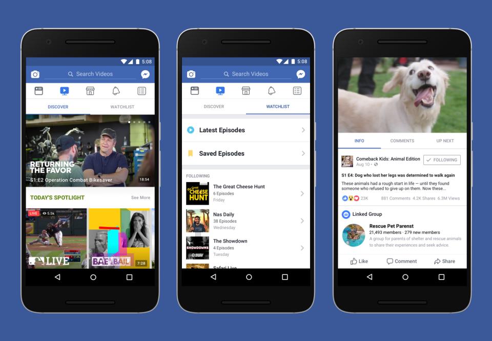 Социальная сеть Facebook объявила озапуске видеоплатформы Watch